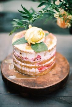 berry filled naked cake