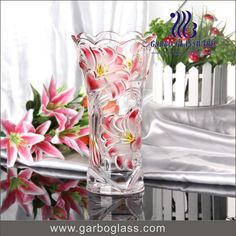 Nice lily design glass vase for table and home decoration .