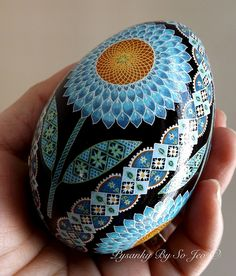 Blue Sunflowers Pysanky Ukrainian Easter Egg