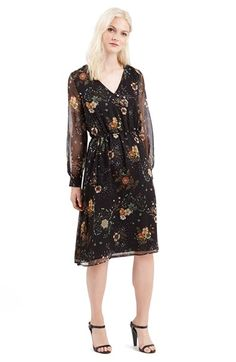 Topshop+Dandelion+Print+Midi+Dress+available+at+#Nordstrom