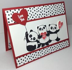 Panda Parade by razldazl -SCS (SU: Party Pandas/ SAB (Pin Valentines: Critters). Cadeau St Valentin, Stampin Up, Valentine Love Cards, Bear Card, Karten Diy, Valentine's Cards For Kids, Stamping Up Cards, Card Patterns, Creative Cards