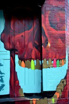 Street Art Work. Skull House, Street Art door #art #street #mural