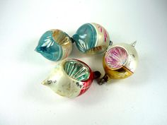 Vintage Teardrop Indented Christmas Ornaments Set by ChromaticWit