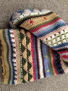 Fun Stripe Blanket - made using the Mixed Stitch Stripey Blanket free pattern by Julie Harrison, from Ravelry here: http://www.ravelry.com/patterns/library/mixed-stitch-stripey-blanket