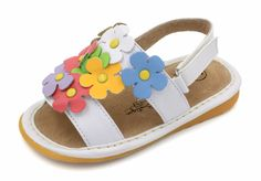 Squeaky Shoes | White Multi-Color Flowers Toddler Girl Sandals