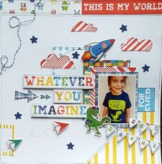 Project Ideas for Photo Play Paper - My Imagination Collection - 12 x 12 Collection Pack Kids Scrapbook, Scrapbook Designs, Scrapbooking Layouts, Scrapbook Pages, Diy And Crafts, Paper Crafts, Kids Cards, T Rex, One Pic