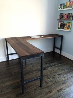 The ideal L-Shaped Desk solution for your home or office. This desk is made from reclaimed black walnut and industrial steel. The frames are custom welded for each piece. To order: Choose Side 1 dimension and ADD TO CART. Furniture, Home, Desk Solutions, Wood Desk, Home Office Design, Reclaimed Wood Desk, Desk, Cheap Office Furniture, Office Design