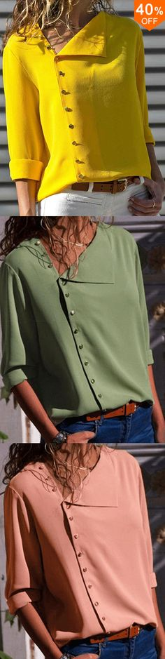 Women Long Sleeve Button Down Loose Casual Basic Blouse Sewing Clothes Women, Dress Clothes For Women, Summer Dresses For Women, Mode Bcbg, Casual Sweaters, Blouse Designs, Beautiful Outfits, Fashion Outfits, Landscaping Ideas