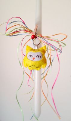 Handmade Easter candle with owl