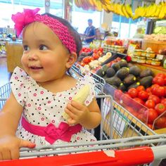 Shopping for fresh fruits and veggies with Daddy  always brings a smile to her face =) =)