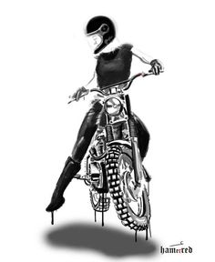 Badass Motorcycle Art by Lady Biker, Biker Girl, Motocross, Bd Art, Bike Tattoos, Sleeve Tattoos, Bike Illustration, Cafe Racer Girl, Motorcycle Style