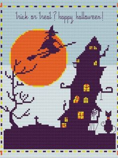 Cute and creepy, halloween, haunted house cross stitch pattern