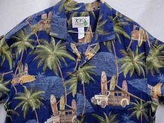 Ky s USA Hawaiian Shirt size XL Woody Station Wagon Surf Boards Palms Beach