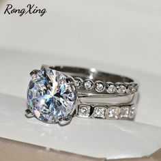 7 Elegant Women Zircon Butterfly Ring Jewelry 925 Silver Bridal Wedding