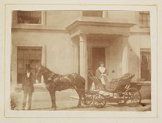 Man, Woman and horse-drawn carriage before a colonnaded porch   Swansea Wales, circa 1854