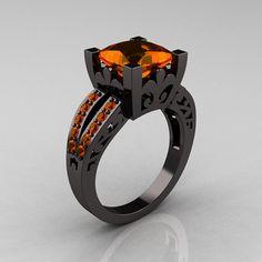 French Vintage 14K Black Gold Princess Orange Sapphire  Solitaire Wedding Ring R222-BGOS on Etsy, $2,449.00