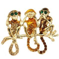$10.99 Funny Three Chimpanzee Monkey Animal Pin Brooch Brown Stone Crystal Fashion Jewelry Gold Tone