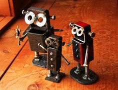 This family of robots is made of scrap metal, old washers, nuts and bolts. Let them spice up your garden, yard or home. available on etsy https://www.etsy.com/shop/RedCedarArtists?ref=si_shop