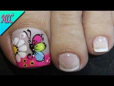 Toe Nail Flower Designs, Nail Art Designs, Feet Nails, Toe Nail Art, Flower Nails, Pedicure, Youtube, Beauty, Pretty Pedicures