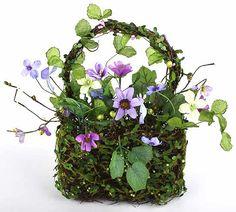 spring silk flower arrangements   Sweet Silk Wild Flower Artificial Basket Arrangement - Spring and ...