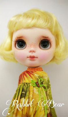 Ooak Custom Blythe Doll/Art doll Sunflower by by rabbitbearhouse