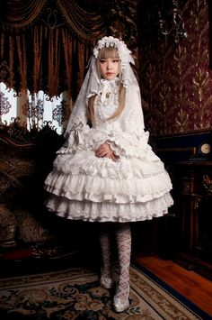 Rose Cat Lolita ~A Fairytale Wedding~ Lolita Jumper Dress and Long Hime Sleeves OP Dress $130.99-Lolita Dresses - My Lolita Dress