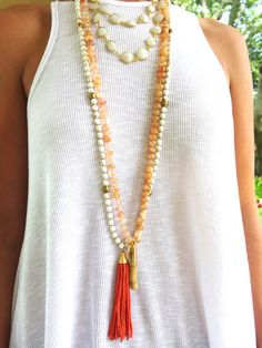 Knotted Sunstone Necklace with Coral Branch by GoldenstrandJewelry
