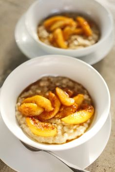 The Chubby Vegetarian: Buttermilk Oatmeal with Butter-Poached Peaches and Sorghum