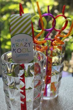 """""""Have a Krazy Kool Summer"""" personalized tags- these are perfect when added to fun, krazy straws as an end-of-school treat for classmates  #end of school favor tag #end of school treat"""