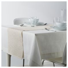 IKEA - MÄRIT, Table runner, beige, The runner protects the table and creates a decorative table setting. Colors are retained wash after wash thanks to the yarn-dyed cotton. Table Ikea, Dining Table, Dining Room, Scandinavian Kitchen, Rustic Table, Chair Pads, Table Linens, Table Runners, Table Settings
