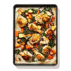 Jamaican-Spiced Chicken and Crispy Swiss Chard (Shape Magazine) Swiss Chard Recipes, Chicken Swiss Chard Recipe, Sheet Pan Suppers, One Pan Dinner, Vegetarian Recipes, Healthy Recipes, Chicken Spices, Healthy Dishes, Eat Healthy