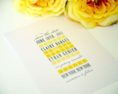Contemporary Chic Save the Date in Yellow and Grey for a Classy, Upscale Wedding - Modern Squares Deposit