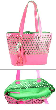 Buco pink and green laser cut patent leather tote