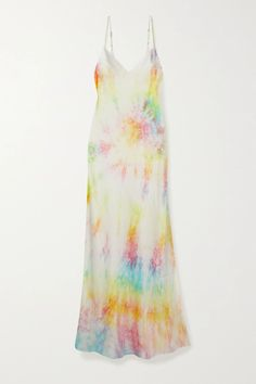 New wave tie-dye comes in unique color combinations, elevated fabrics and elegant cuts. DANNIJO's rainbow-hued dress is made from lightweight silk-satin decorated with the throwback technique. It has a classic slip silhouette with delicate straps and a thigh-baring slit. Wear it with chunky sandals on vacation, or layered over a T-shirt. Yellow Midi Dress, Satin Midi Dress, Satin Slip, Silk Satin, Fashion Calendar, Tie Dyed, Dyed Silk, Chunky Sandals, Tie Dye Colors