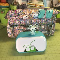 """Colleen made a great Sheffield tool bag to hold her Cricut machines! How cute are her Cricut cuties?! The Sheffield tool bag pattern is available as a stand alone PDF+video or as part of the """"His, Hers and Furs"""" bundle. We also sell wire frames and optional acrylic templates for this pattern."""