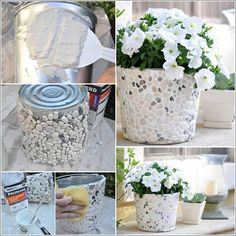 How to DIY Pebble Decorated Planter