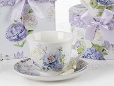 Gift Boxed Teacup and Saucer - Roses and Hydrangeas