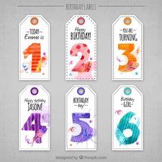 Etiquetas de cumpleaños bonitas en acuarela Vector Gratis