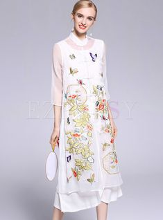 Shop White Mesh Embroidered Shift Dress Without Underskirt at EZPOPSY. Shift Dress Outfit, Dress Outfits, Fashion Online, Women's Fashion, Kente Styles, Textiles, Cheongsam, Ao Dai, Indian Designer Wear