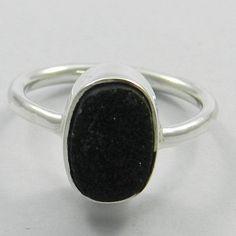 Beautiful Black Druzy 925 Silver Ring, Fashion Silver Ring, Party Wear Ring #Handmade #Band