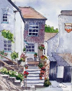 Polperro pen and wash Pen And Watercolor, Watercolor Landscape, Watercolor Paintings, Watercolours, Pen And Wash, Watercolor Architecture, Ink Pen Drawings, Urban Sketching, Art Abstrait