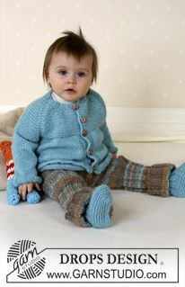 DROPS Baby - Jacket, trousers, booties and soft toy in Alpaca Baby Knitting Patterns, Baby Cardigan Knitting Pattern Free, Knitting For Kids, Baby Patterns, Free Knitting, Knitting Projects, Drops Design, Cardigan Bebe, Drops Baby