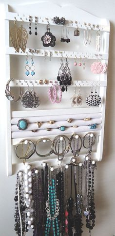 White Jewelry Holder Wall Mounted Earring Rack Ring Compartment, Bracelet Display Necklace Organizer, Jewelry Storage, Solid Oak Wood