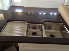 Double Stainless Steel Kitchen Sink With Drainboard On The Left Connected  By Black Countertops, Adorable Idea Of Kitchen Sink With Drainboard For  Your Dirty ...