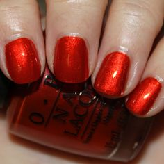 Danke-Shiny Red is a rich jewel-toned shimmery metallic red. (fall opi) want this for christmas holiday parties.