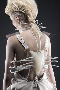 Futuristic Fashion - interactive dress; wearable tech; sculptural fashion #interactive #3dprinted #fashion
