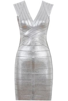 Maggie Silver Cross Panelled Bandage Dress