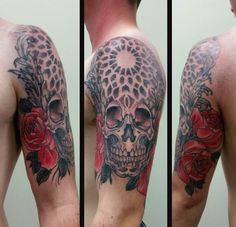 Pointillism tattoo. Skull and roses half sleeve. Black and grey tattoo