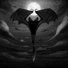 cute Bat creepy horror black n white Macabre novos obscure Halloween Drawings, Halloween Art, Halloween Painting, Arte Horror, Horror Art, Memes Arte, Creatures Of The Night, Dark Art, Fantasy Art