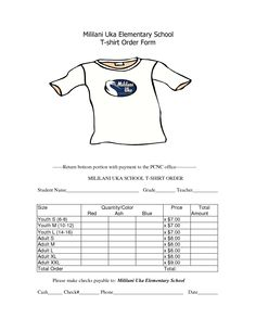 TShirt Order Form (editable) | Order form and Fire dept
